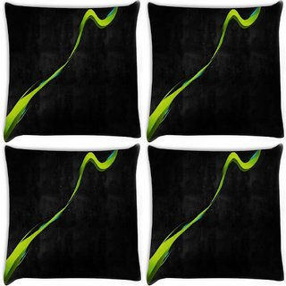 Snoogg Pack Of 4 Green Paint Digitally Printed Cushion Cover Pillow 10 x 10 Inch