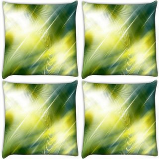 Snoogg Pack Of 4 Abstract Green Pattern Design Digitally Printed Cushion Cover Pillow 10 x 10 Inch