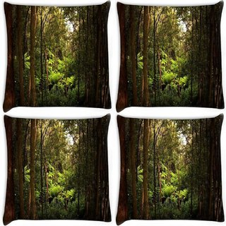 Snoogg Pack Of 4 Dense Forest Digitally Printed Cushion Cover Pillow 10 x 10 Inch
