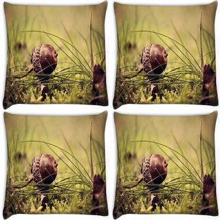Snoogg Pack Of 4 Small Fruitnut Digitally Printed Cushion Cover Pillow 10 x 10 Inch