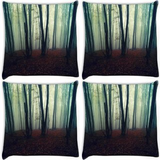 Snoogg Pack Of 4 Smoked Forest Digitally Printed Cushion Cover Pillow 10 x 10 Inch