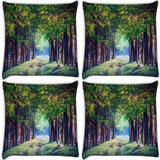 Snoogg Pack Of 4 Pathway In Forest Digitally Printed Cushion Cover Pillow 10 x 10 Inch