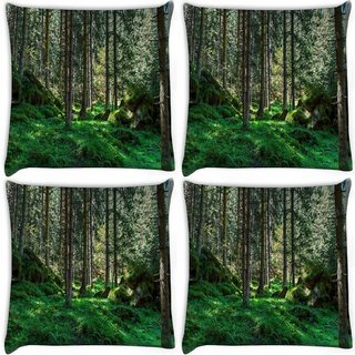 Snoogg Pack Of 4 Desnse Forest Digitally Printed Cushion Cover Pillow 10 x 10 Inch