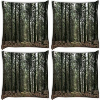 Snoogg Pack Of 4 Dense Walking Way Digitally Printed Cushion Cover Pillow 10 x 10 Inch