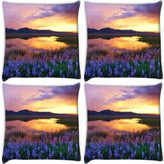 Snoogg Pack Of 4 Purple Flower Digitally Printed Cushion Cover Pillow 10 x 10 Inch