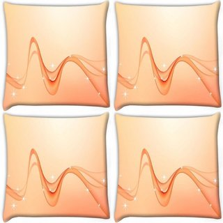 Snoogg Pack Of 4 Abstract Orange Waves Digitally Printed Cushion Cover Pillow 10 x 10 Inch