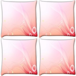 Snoogg Pack Of 4 Abstract Pink Pattern Digitally Printed Cushion Cover Pillow 10 x 10 Inch