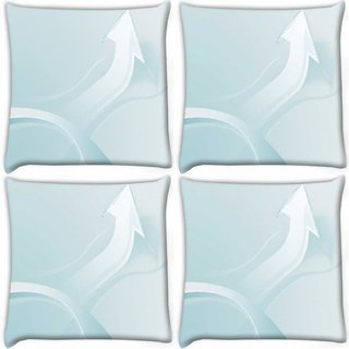 Snoogg Pack Of 4 White Arrow Digitally Printed Cushion Cover Pillow 10 x 10 Inch