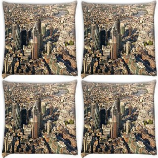 Snoogg Pack Of 4 Busy City Digitally Printed Cushion Cover Pillow 10 x 10 Inch