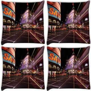Snoogg Pack Of 4 New York Street Digitally Printed Cushion Cover Pillow 10 x 10 Inch