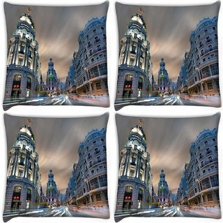 Snoogg Pack Of 4 Metropolis Digitally Printed Cushion Cover Pillow 10 x 10 Inch