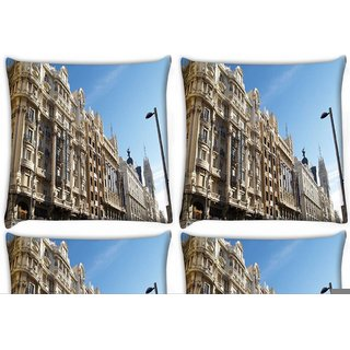 Snoogg Pack Of 4 Hotel Atlantico Digitally Printed Cushion Cover Pillow 10 x 10 Inch