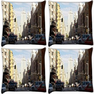 Snoogg Pack Of 4 City Traffic Digitally Printed Cushion Cover Pillow 10 x 10 Inch