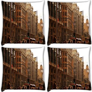 Snoogg Pack Of 4 Peoples In Street Digitally Printed Cushion Cover Pillow 10 x 10 Inch