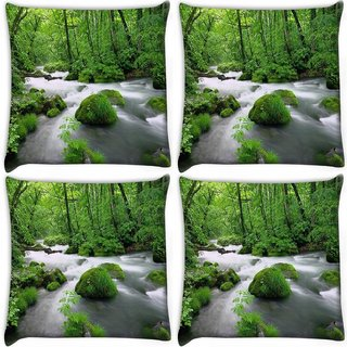 Snoogg Pack Of 4 White Water Digitally Printed Cushion Cover Pillow 10 x 10 Inch