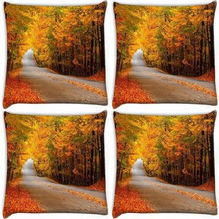 Snoogg Pack Of 4 Orange Leaves Digitally Printed Cushion Cover Pillow 10 x 10 Inch