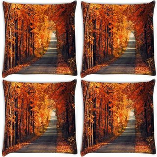 Snoogg Pack Of 4 Orange Trees Digitally Printed Cushion Cover Pillow 10 x 10 Inch