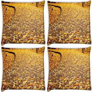 Snoogg Pack Of 4 Dried Leaves Digitally Printed Cushion Cover Pillow 10 x 10 Inch