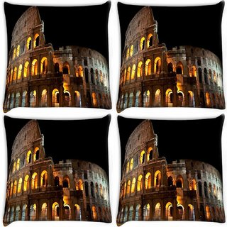Snoogg Pack Of 4 Broken Building Digitally Printed Cushion Cover Pillow 10 x 10 Inch