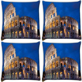 Snoogg Pack Of 4 Half Building Digitally Printed Cushion Cover Pillow 10 x 10 Inch
