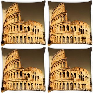 Snoogg Pack Of 4 Abstract Building Digitally Printed Cushion Cover Pillow 10 x 10 Inch