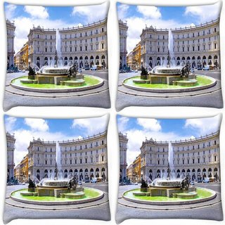Snoogg Pack Of 4 Water Ponds Digitally Printed Cushion Cover Pillow 10 x 10 Inch