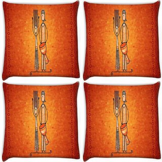 Snoogg Pack Of 4 Banjo Man Digitally Printed Cushion Cover Pillow 10 x 10 Inch
