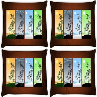 Snoogg Pack Of 4 Colrful Apttern Image Digitally Printed Cushion Cover Pillow 10 x 10 Inch