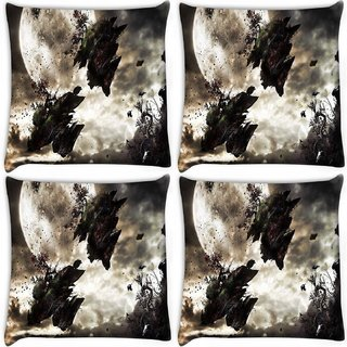 Snoogg Pack Of 4 Broken Earth Digitally Printed Cushion Cover Pillow 10 x 10 Inch