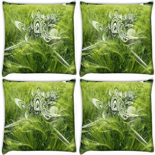 Snoogg Pack Of 4 Abstract Spider Web Digitally Printed Cushion Cover Pillow 10 x 10 Inch