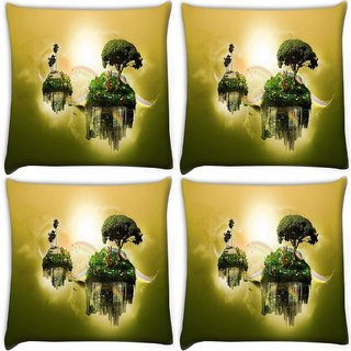 Snoogg Pack Of 4 Floating Earth Digitally Printed Cushion Cover Pillow 10 x 10 Inch