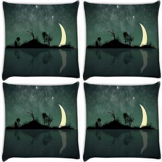 Snoogg Pack Of 4 Half Moon Digitally Printed Cushion Cover Pillow 10 x 10 Inch