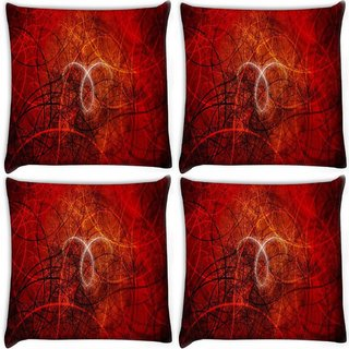Snoogg Pack Of 4 Abstract Red Design Digitally Printed Cushion Cover Pillow 10 x 10 Inch