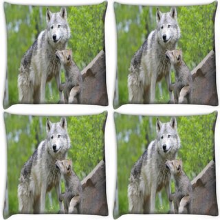 Snoogg Pack Of 4 Parental Dog Digitally Printed Cushion Cover Pillow 10 x 10 Inch