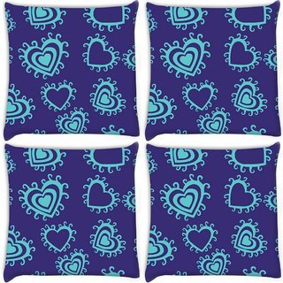 Snoogg Pack Of 4 Green Heart Blue Pattern Digitally Printed Cushion Cover Pillow 10 x 10 Inch