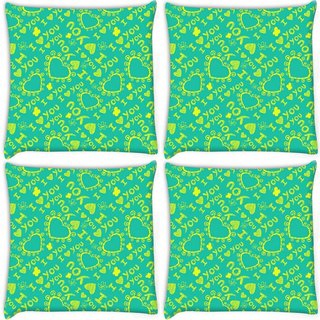 Snoogg Pack Of 4 Yellow I Love You Digitally Printed Cushion Cover Pillow 10 x 10 Inch