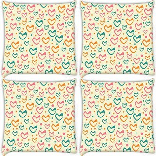 Snoogg Pack Of 4 Multicolor Hearts Cream Pattern Digitally Printed Cushion Cover Pillow 10 x 10 Inch
