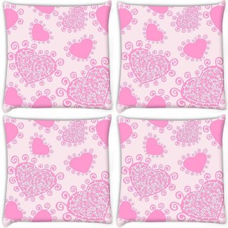 Snoogg Pack Of 4 Pink Heart White Pattern Digitally Printed Cushion Cover Pillow 10 x 10 Inch