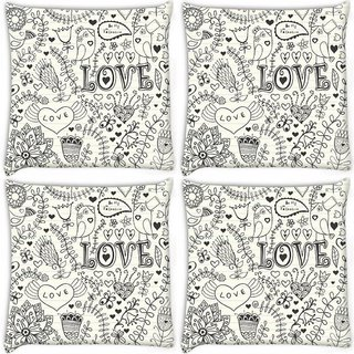Snoogg Pack Of 4 Love Birds White Pattern Digitally Printed Cushion Cover Pillow 10 x 10 Inch