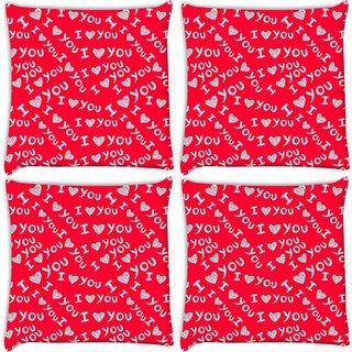 Snoogg Pack Of 4 I Love You Red Pattern Digitally Printed Cushion Cover Pillow 10 x 10 Inch
