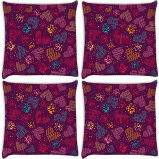 Snoogg Pack Of 4 Multioclor Hearts And Butterflies Maroon Pattern Digitally Printed Cushion Cover Pillow 10 x 10 Inch