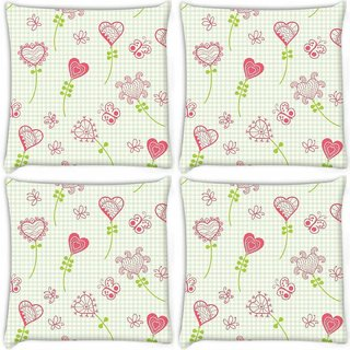 Snoogg Pack Of 4 Hearts And Butterflier Digitally Printed Cushion Cover Pillow 10 x 10 Inch