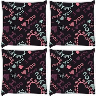 Snoogg Pack Of 4 I Love You Black Pattern Digitally Printed Cushion Cover Pillow 10 x 10 Inch