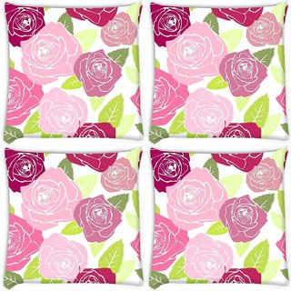 Snoogg Pack Of 4 Multicolor Roses Digitally Printed Cushion Cover Pillow 10 x 10 Inch