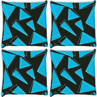 Snoogg Pack Of 4 Blue Pieces Of Triangle Digitally Printed Cushion Cover Pillow 10 x 10 Inch