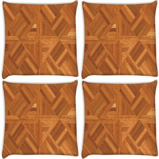 Snoogg Pack Of 4 Abstract Floor Matt Design Digitally Printed Cushion Cover Pillow 10 x 10 Inch