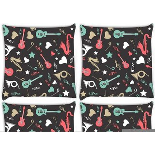 Snoogg Pack Of 4 Abstract Music Instruments Digitally Printed Cushion Cover Pillow 10 x 10 Inch