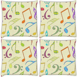 Snoogg Pack Of 4 Colorful Music Alphabets Digitally Printed Cushion Cover Pillow 10 x 10 Inch