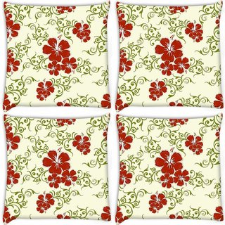 Snoogg Pack Of 4 Red Flower Cream Pattern Digitally Printed Cushion Cover Pillow 10 x 10 Inch