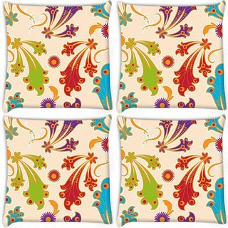 Snoogg Pack Of 4 Colorful Layered Flowers Digitally Printed Cushion Cover Pillow 10 x 10 Inch